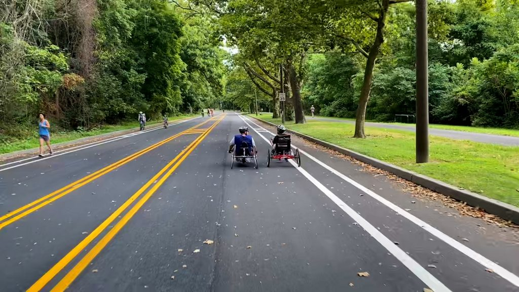 People on recumbent bikes using MLK Drive when it was closed to car traffic in July 2020