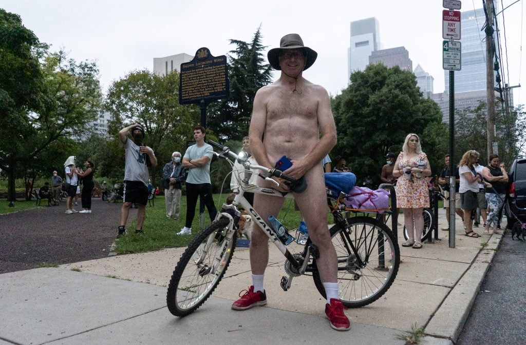 Jim B., from Michigan, was the first biker to Baldwin Park