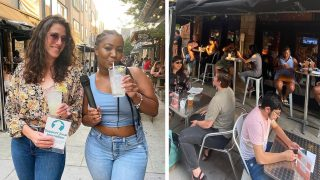 Philly Quizzo co-hosts Danya Henninger and Sakeenah Benjamin; Quizzo players at SET Philly
