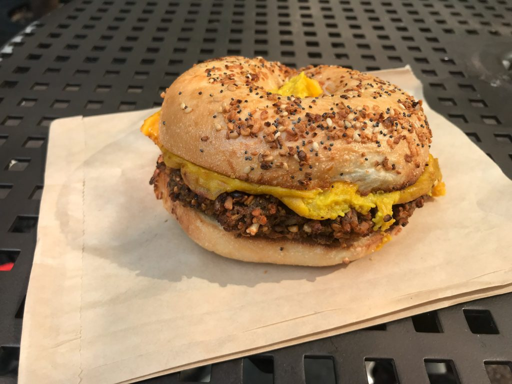 The plant-based sausage, egg, and cheese at LUHV Vegan Deli