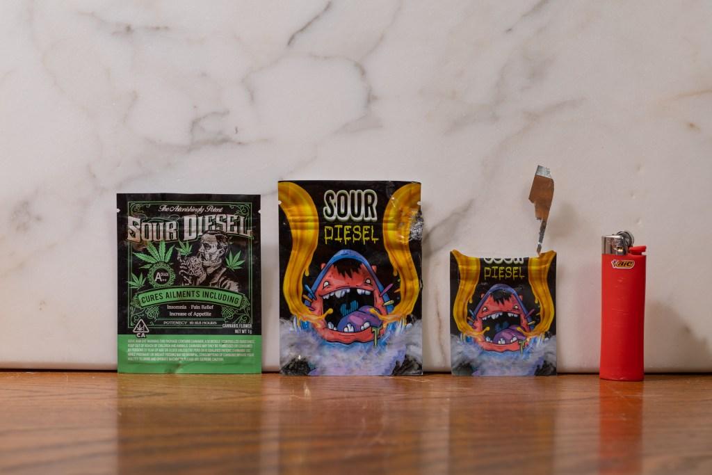 Variations on packaging for 'Sour Diesel'