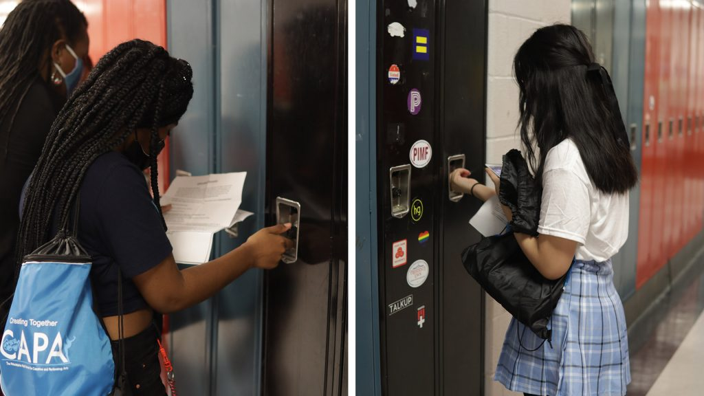 Students get oriented on the first day back at CAPA high school in South Philadelphia