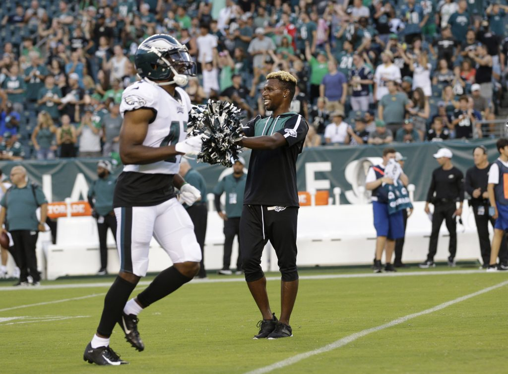 LeGette cheers during the Eagles-Patriots preseason game in August