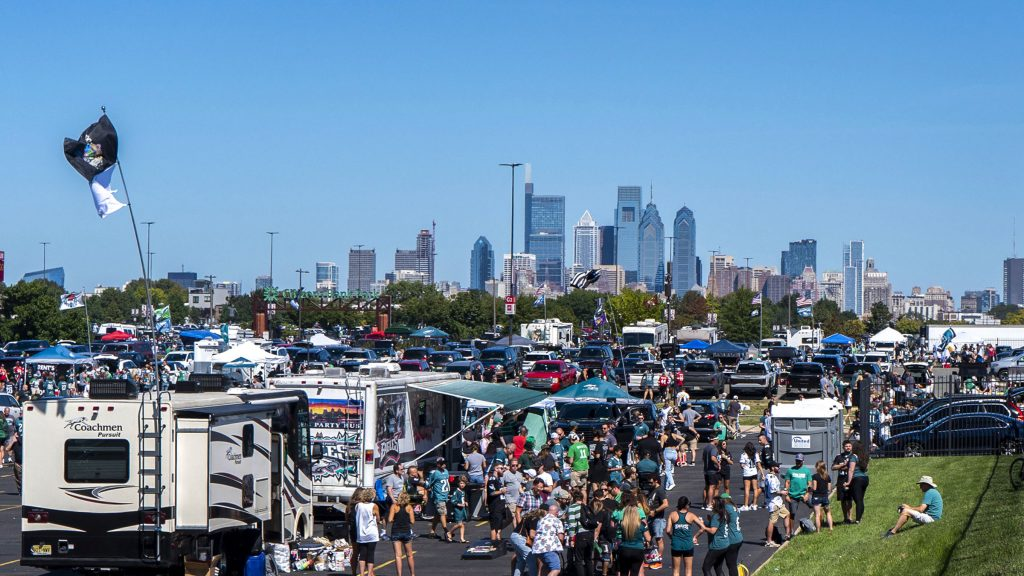 The parking lots at Lincoln Financial Field were full