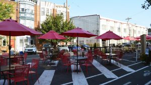 The outdoor seating at Hawthorne's Beer Cafe, where our late summer Philly Quizzo went down