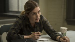 Kate Winslet at the title character in 'Mare of Easttown'