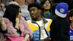 Nicki Minaj and Meek Mill at a Sixers game in 2016
