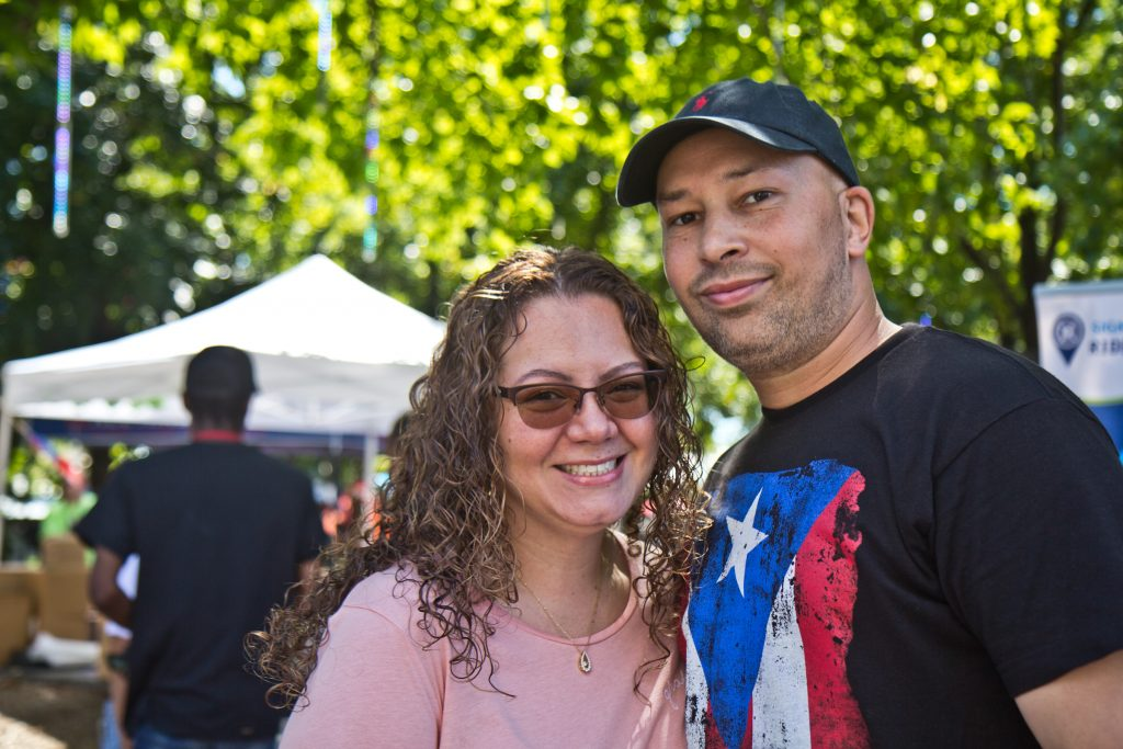 Roberto Rios from District Council 21 (right) and his wife Anjolic Rios celebrated their heritage at Stroll the Harbor