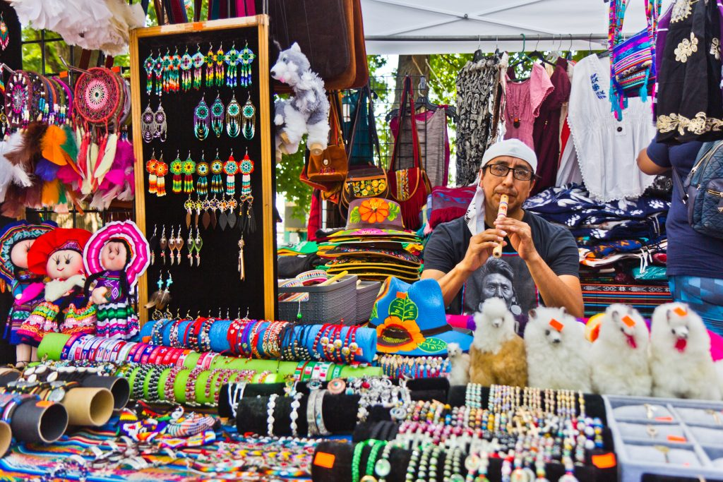 Vincent Cruz sold handmade items from Ecuador at Stroll the Harbor