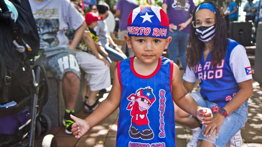 Jovannie, 2, was dressed to celebrate his heritage at Stroll the Harbor