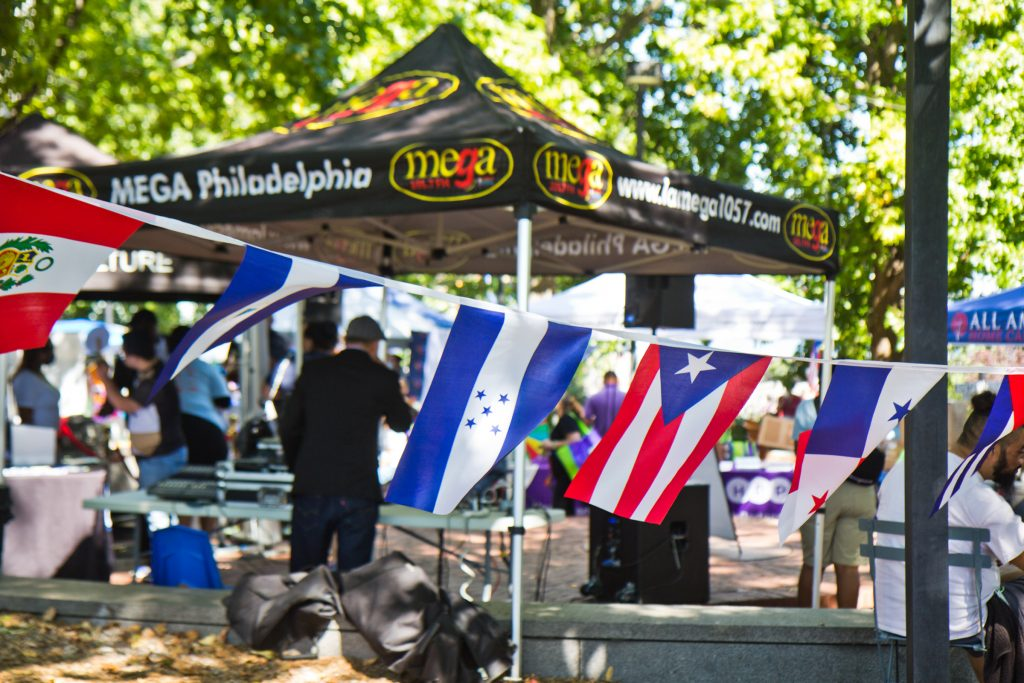 Flags were hung around Spruce Street Harbor Park