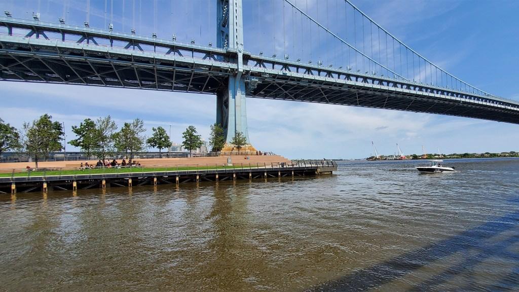 The Race Street Pier beneath the Ben Franklin Bridge