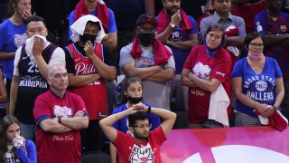 Sixers fans watch the final minutes of Game 7 vs the Atlanta Hawks in the 2021 Eastern Conference Finals