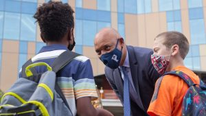 Philadelphia School District Superintendent Dr. William Hite,  greeting students on their first day of school on August 31, 2021