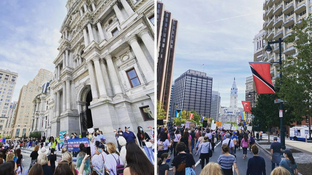 Marchers descend on Philadelphia City Hall for a reproductive rights rally
